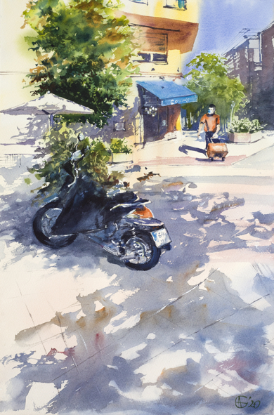 Nueva normalidad. Madrid. SUNNY DAY IN PANDEMIC TIMES. STREET SCENE WITH MOTO AND MASK. BIG FORMAT WATERCOLOR URBAN LANDSCAPE MODERN IMPRESSIONISM|DibujodeSasha Romm Art| Compra arte en Flecha.es