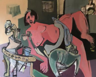 Mujer con perro|PinturadeOscar Leonor| Compra arte en Flecha.es