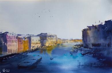 Venecia al atardecer.  VENICE. SUNSET VIEW OF GRAND CANAL. MEDIUM FORMAT WATERCOLOR URBAN LANDSCAPE MEDITERRANEAN ITALY SEA BRIGHT ARCHITECTURE OLD TRAVEL PAISAJE IMPRESSIONISMO|DibujodeSasha Romm Art| Compra arte en Flecha.es