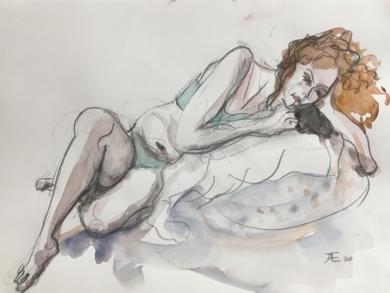 Pelirroja|DibujodeJaelius Aguirre| Compra arte en Flecha.es