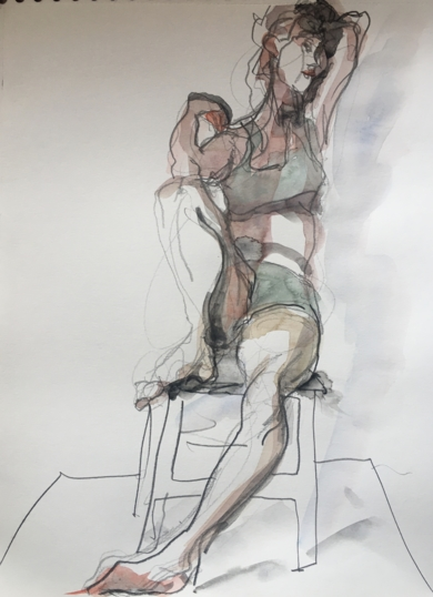 Codo en Rodilla|DibujodeJaelius Aguirre| Compra arte en Flecha.es