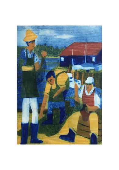 Los pescadores en Bosham.|Obra gráficadeJenifer Carey| Compra arte en Flecha.es
