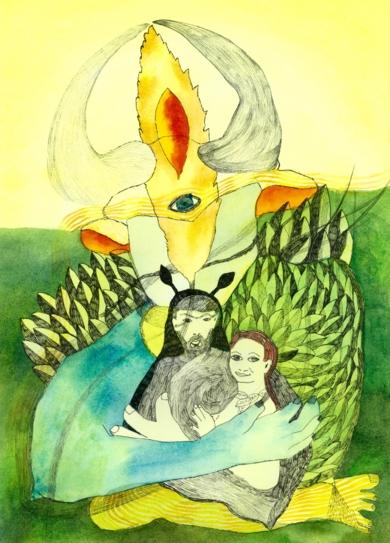 Chorar, otoño abrazado. Primera fuente.|DibujodeReme Remedios| Compra arte en Flecha.es