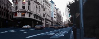 """Atardecer en Gran Vía.""|PinturadeROSANA SITCHA| Compra arte en Flecha.es"