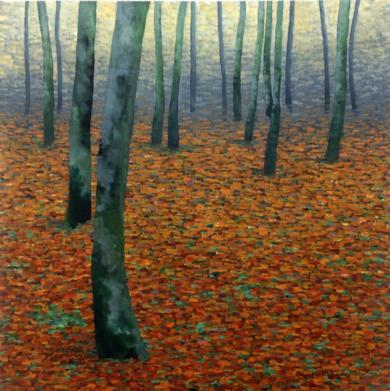 Hayedo en otoño|PinturadeCharlotte Adde| Compra arte en Flecha.es