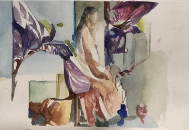 Figura entre lirios|PinturadeAna Alcaraz| Compra arte en Flecha.es