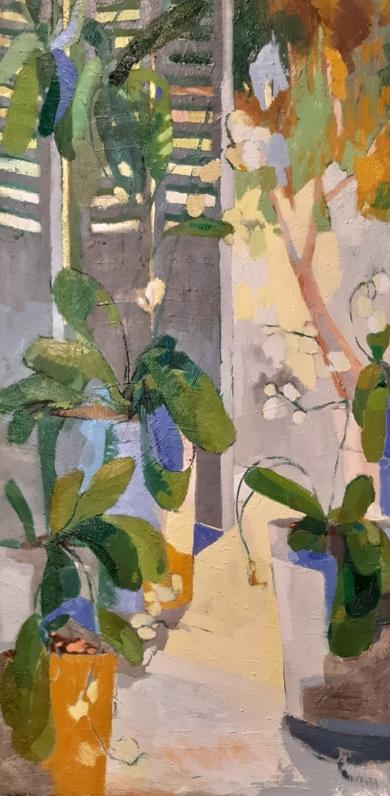 Persiana y orquídeas|PinturadeCarolina Veramendi B| Compra arte en Flecha.es