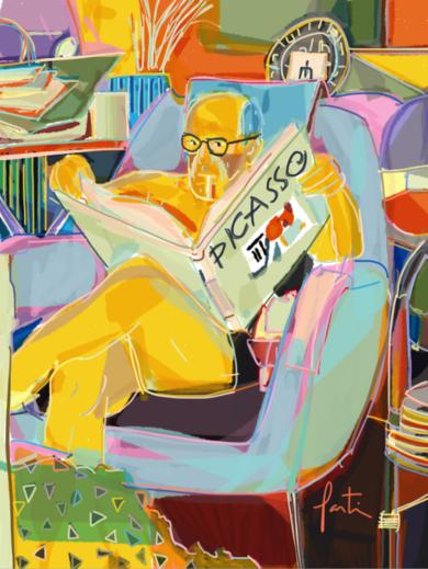 Picasso leyendo a PIcasso|DigitaldeSantiago Esteban Glez| Compra arte en Flecha.es
