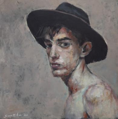 Muchacho con sombrero II|PinturadeGonzho| Compra arte en Flecha.es