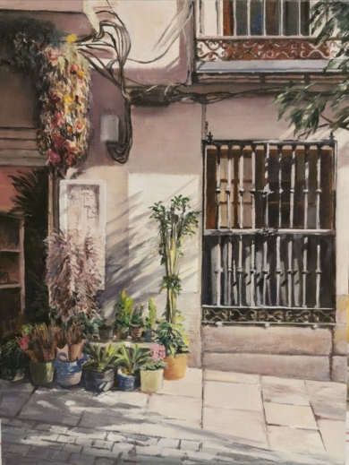 Floristeria de mi barrio|PinturadeCarmen Nieto| Compra arte en Flecha.es