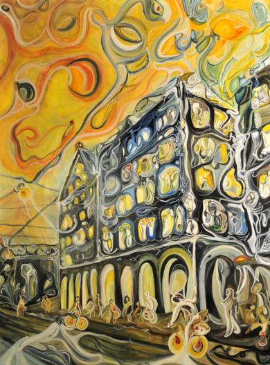 © Títol: Ciudad en movimento|PinturadeRICHARD MARTIN| Compra arte en Flecha.es