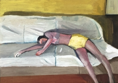 Woman in yellow shorts|DibujodeSusana Mata| Compra arte en Flecha.es