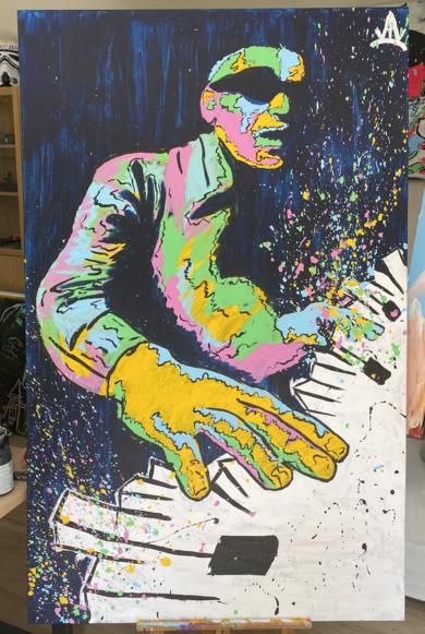 Ray Charles|PinturadeAlvaro Linares Cuadrado| Compra arte en Flecha.es