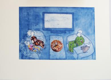 Y PEDIMOS UNA PIZZA- Serie FELIZ DOMINGO|Obra gráficadeAna Valenciano| Compra arte en Flecha.es