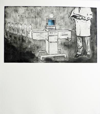 El reconocimiento médico|Obra gráficadeAna Valenciano| Compra arte en Flecha.es