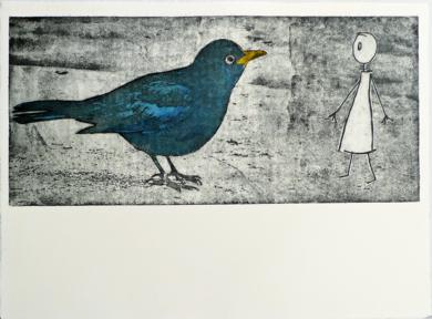 Ve un pájaro y se sorprende|Obra gráficadeAna Valenciano| Compra arte en Flecha.es