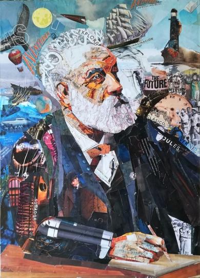 Julio Verne.|CollagedeAmador Sevilla| Compra arte en Flecha.es