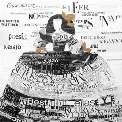 Menina lectora CollagedeAmador Sevilla  Compra arte en Flecha.es