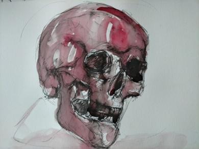 Weinender Schädel (cráneo llorando)|DibujodeOliverPlehn-Artist| Compra arte en Flecha.es