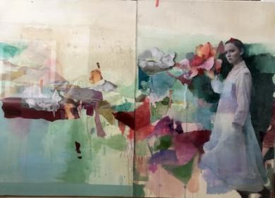 Figura en jardin|PinturadeAna Alcaraz| Compra arte en Flecha.es