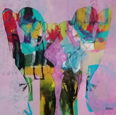 Twins on the beach 1|PinturadeFrancisco Santos| Compra arte en Flecha.es