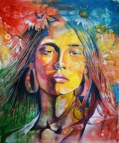 Mujer con flores|PinturadeCarlos Anabeil| Compra arte en Flecha.es