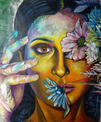 Mujer con flores  II PinturadeCarlos Anabeil  Compra arte en Flecha.es