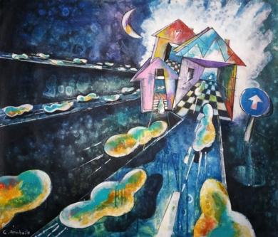 Nubes de Ciudad PinturadeCarlos Anabeil  Compra arte en Flecha.es
