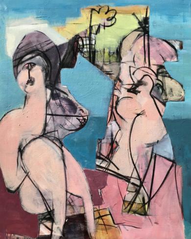 Playa nudista|PinturadeOscar Leonor| Compra arte en Flecha.es