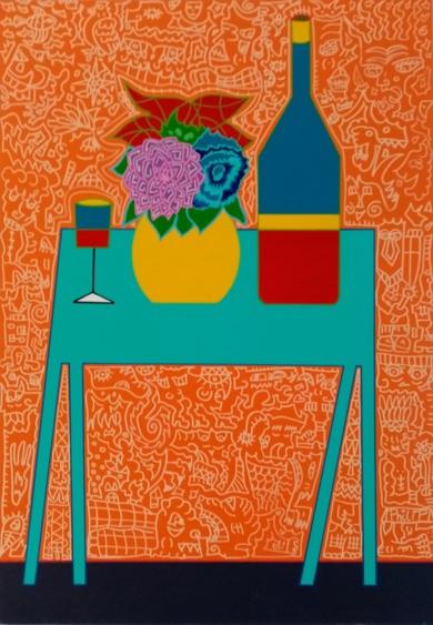 La mesa azul / The blue table|PinturadePhilip Verhoeven| Compra arte en Flecha.es