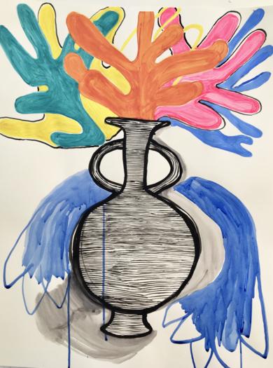 Bursting greek vase meets Matisse|DibujodeLisa| Compra arte en Flecha.es