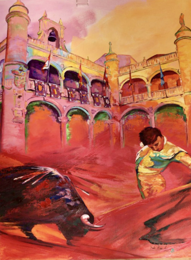 Toros e n Ciudad Rodrigo|PinturadeMaite Rodriguez| Compra arte en Flecha.es
