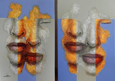 DÍPTICO DOBLE PAREJA|PinturadeJuan Chamizo| Compra arte en Flecha.es