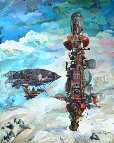 La torre roja|CollagedeAmador Sevilla| Compra arte en Flecha.es