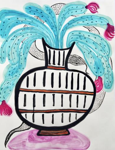 Nomad snake goes on vacation to Europe|DibujodeLisa| Compra arte en Flecha.es