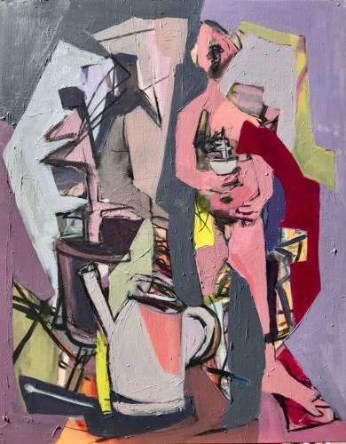 hombre y cardo|PinturadeOscar Leonor| Compra arte en Flecha.es