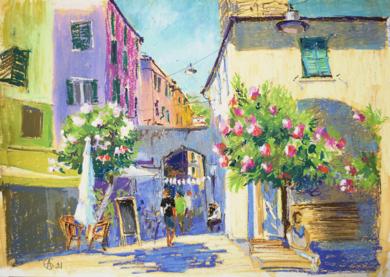 MONTEROSSO. ITALIAN SUMMER. SUNNY URBAN LANDSCAPE. MEDIUM SIZE OIL PASTEL IMPRESSIONISTIC INTERIOR PAINTING TRAVEL DECOR CINQUE TERRE|DibujodeSasha Romm Art| Compra arte en Flecha.es