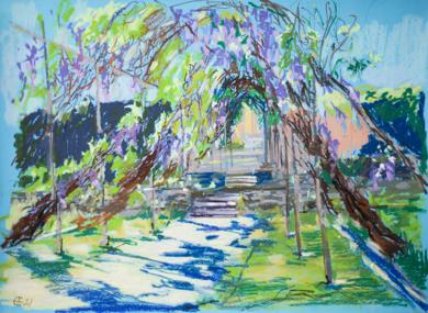 WISTERIA TUNNEL. SUNNY URBAN NATURAL IMPRESSIONISTIC LANDSCAPE. MEDIUM SIZE OIL PASTEL IMPRESSIONISTIC INTERIOR PAINTING TRAVEL DECOR SPAIN MADRID|DibujodeSasha Romm Art| Compra arte en Flecha.es
