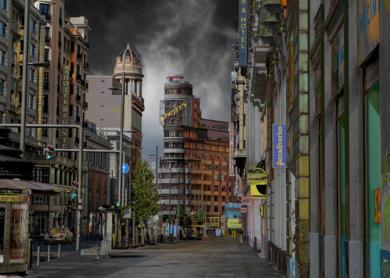 Gran Vía tormentosa|FotografíadeLeticia Felgueroso| Compra arte en Flecha.es
