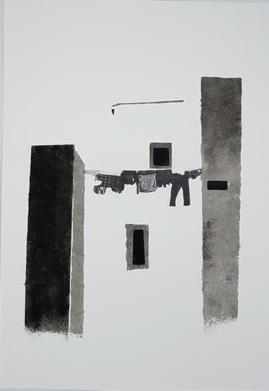 Pueblo|DibujodeVirginia Moncalián| Compra arte en Flecha.es