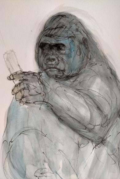 Gorila|DibujodeOliverPlehn-Artist| Compra arte en Flecha.es