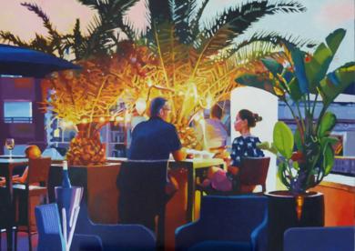 Terraza nocturno|PinturadeJose Belloso| Compra arte en Flecha.es