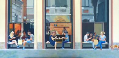 Bar San antonio|PinturadeJose Belloso| Compra arte en Flecha.es