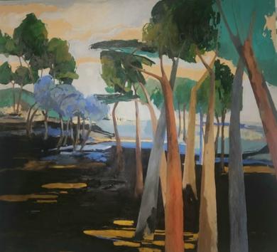 Bosque de pinos-azul|PinturadeCarolina Veramendi B| Compra arte en Flecha.es
