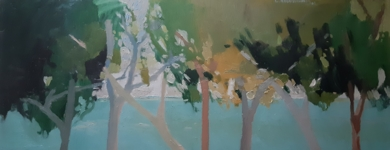 Pinos con turquesa|PinturadeCarolina Veramendi B| Compra arte en Flecha.es