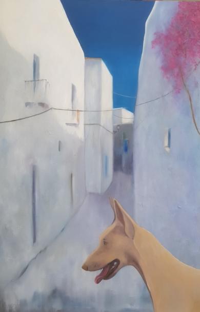 Calle de ibiza y podenco PinturadeMiguel Ángel García López  Compra arte en Flecha.es