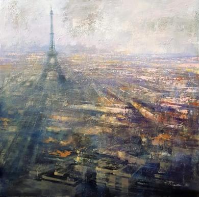 París panorámica|PinturadeCristina Bergoglio| Compra arte en Flecha.es