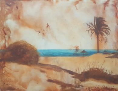 Playa de ibiza|PinturadeMiguel Ángel García López| Compra arte en Flecha.es