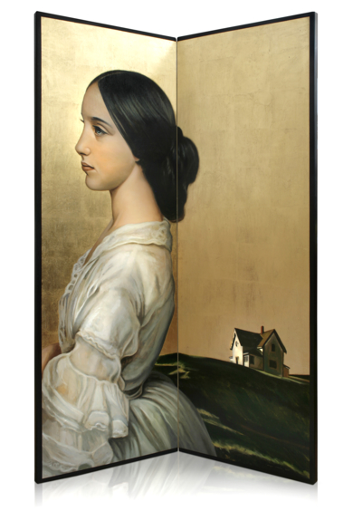 Biombo Dama de blanco|PinturadeEnrique González| Compra arte en Flecha.es