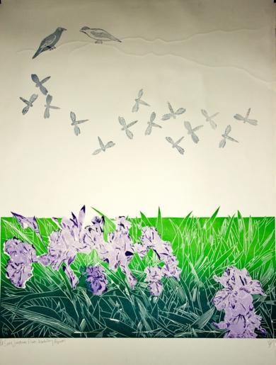 Serie Jardines: Flores, libelulas y Pájaros|IlustracióndeNélida Dias de Campos| Compra arte en Flecha.es